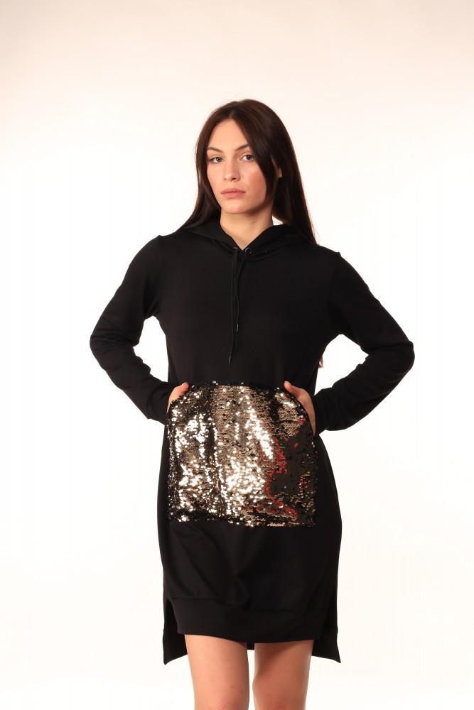 Платье-Худи Quest Wear чёрное с чёрно-золотыми паетками на кармане