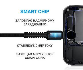 Кабель MakeFuture USB-USB Type-C, 3A, 1м Denim Grey (MCB-CD3GR), фото 2