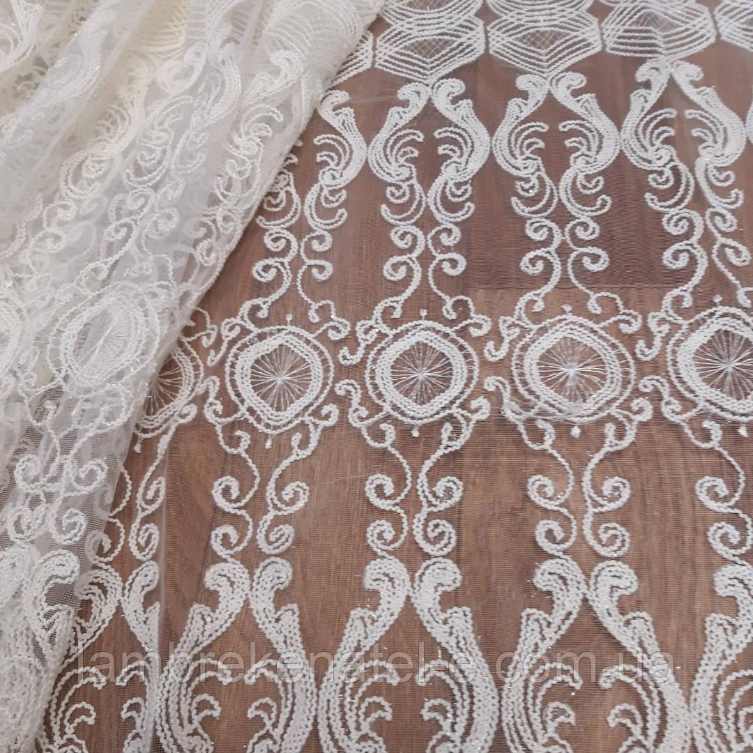 Гардина в зал, гостиную с шениловой вышивкой на фатине
