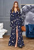 Воздушное весеннее платье с красивым принтом макси длины на запах