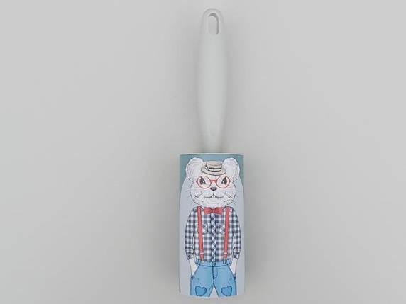 """Ролик-липучка для чистки одежды на 60 листов, серого цвета """"Кот"""", фото 2"""