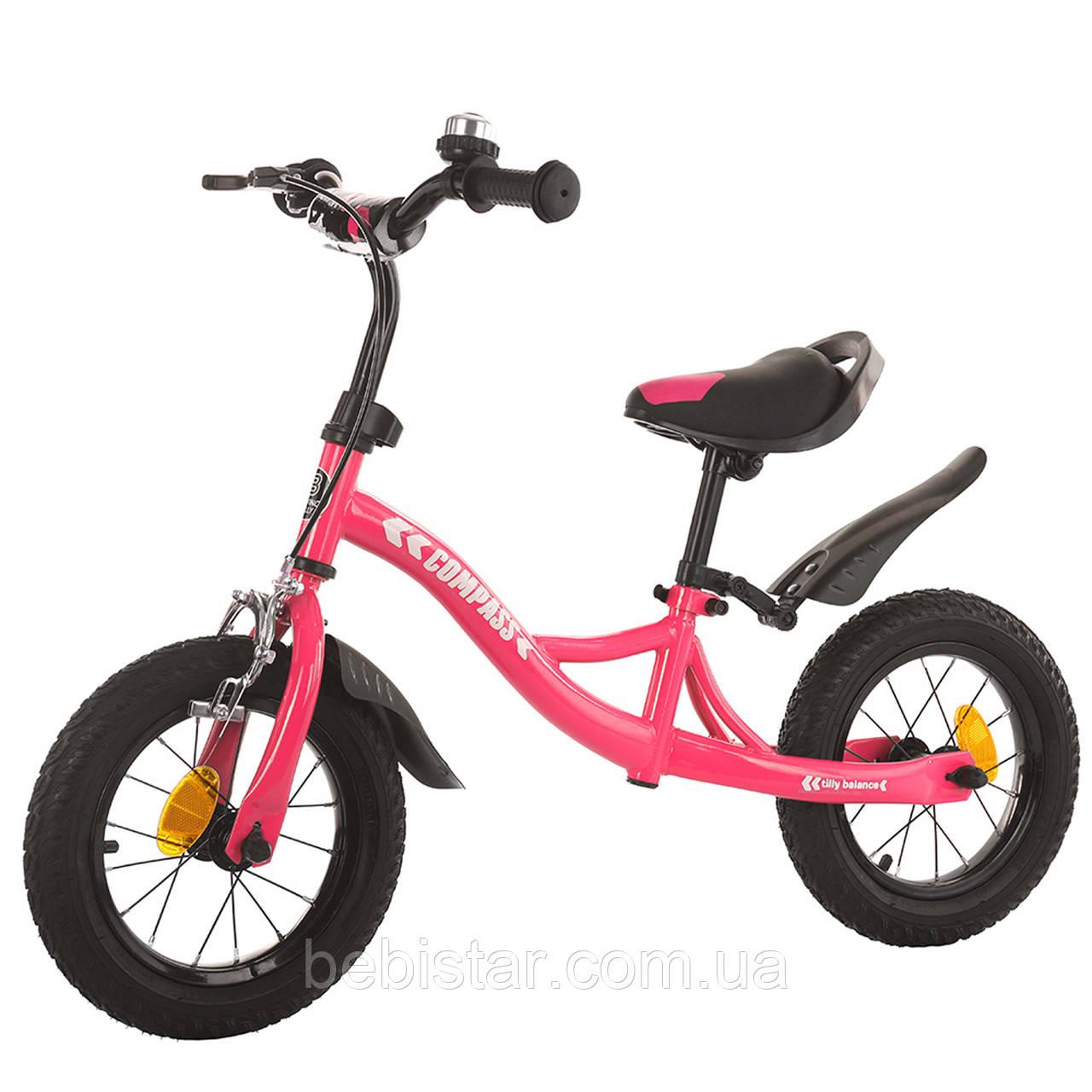 Беговел стальной розовый Tilly Compas крылья надувные колеса ручной тормоз звонок детям от 2-х до 5 лет