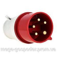 Вилка силовая кабельная 32А/5 3Р+N+PE,трехфазная вилка ІР44,силовой разъём 5 контактов 380В
