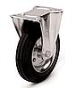 Колеса металлические с литой черной резиной, диаметр 200 мм, с неповоротным кронштейном