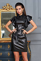 Стильное кожаное (эко-кожа) платье-футляр элегантной мини длины с 42 по 48 размер