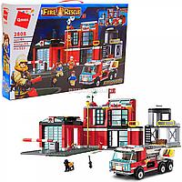 Конструктор Qman «Пожарная машина», 523 детали, 5 фигурок (2808)