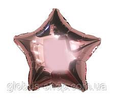 Звезда розовое золото, шар фольгированный 44 см
