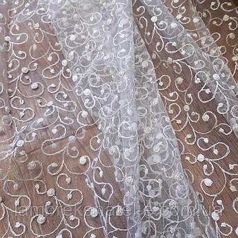 Тюль турецкая с вышивкой вензельки в зал гостиную спальню