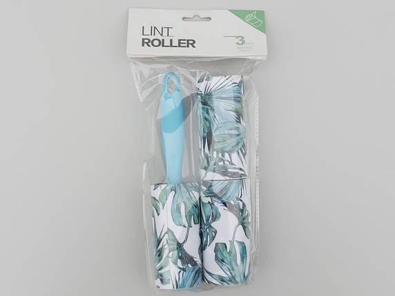 """Ролик-липучка для чистки одежды на 60 листов сдвумя сменными кассетами, голубого цвета """"Листья"""", фото 2"""