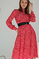 Красное короткое платье с белым принтом на длинный рукав, M, красный и белый
