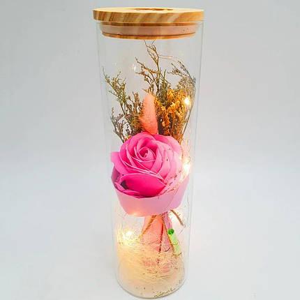 Роза в колбе с Led подсветкой большая Розовая, фото 2