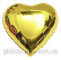 Сердце золото, шар фольгированный 44 см