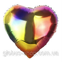 Сердце радуга, шар фольгированный 44 см