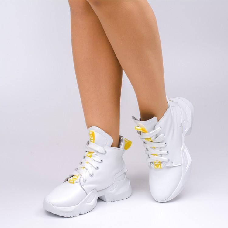 Кроссовки белые высокие 001-01