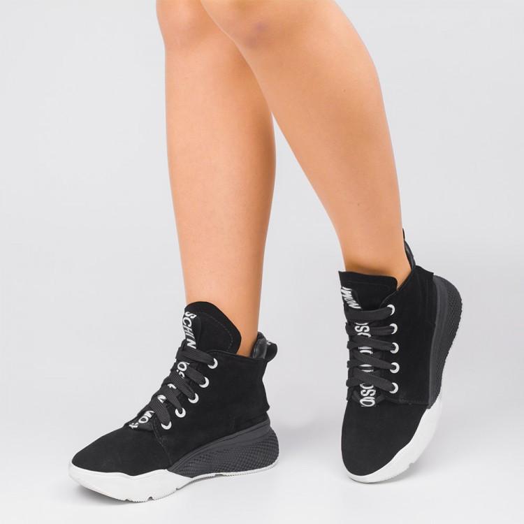 Кроссовки высокие черная замша 001-03
