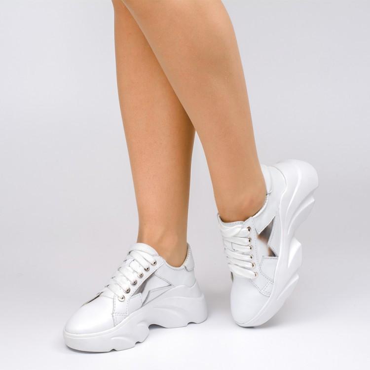 Кроссовки массивные белые 804-11