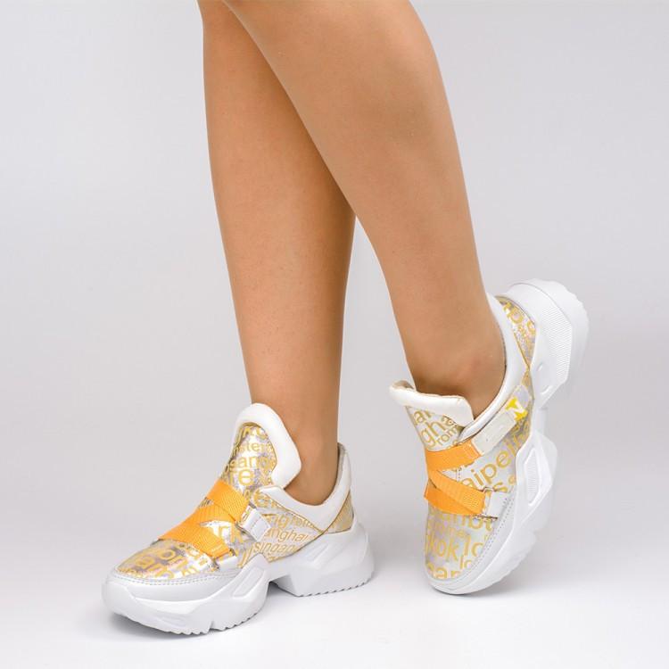 Кроссовки с желтыми ремешками 930-04