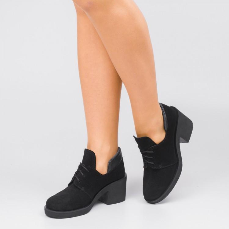 Туфли замшевые на удобном каблуке 002-03