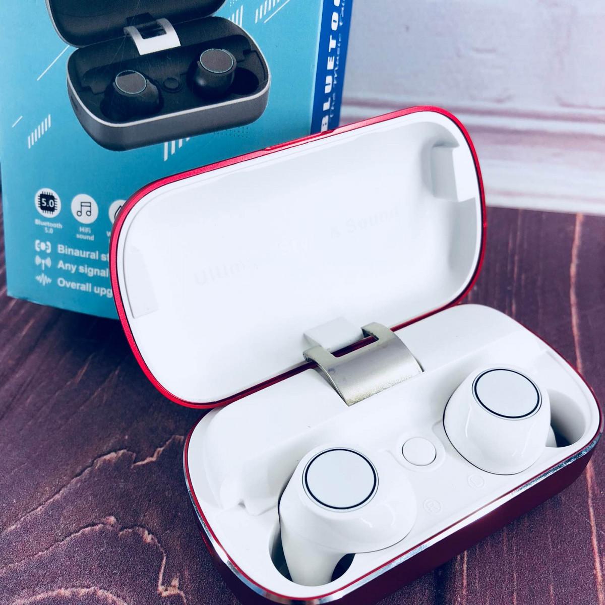 Вакуумные Bluetooth наушники Tws S8 с кейсом Красные