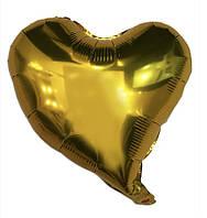 Сердце золото фигурное, шар фольгированный 44 см