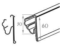 Ценникодержатель LST для стеллажа tegometall, высота 60 мм, длина 1315 мм, серый. На профильную полу