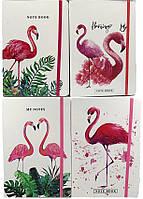 "Блокнот A5 на резинке 0433-A5 ""Фламинго"", 14,5х21см цветной торец 80страниц 70г/м2"