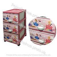 Пластиковый комод с детским рисунком на 3 ящиками Принцессы Elif  Турция