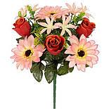 Букет гербер,лілій і троянд, 32 см (12 шт. в уп), фото 2