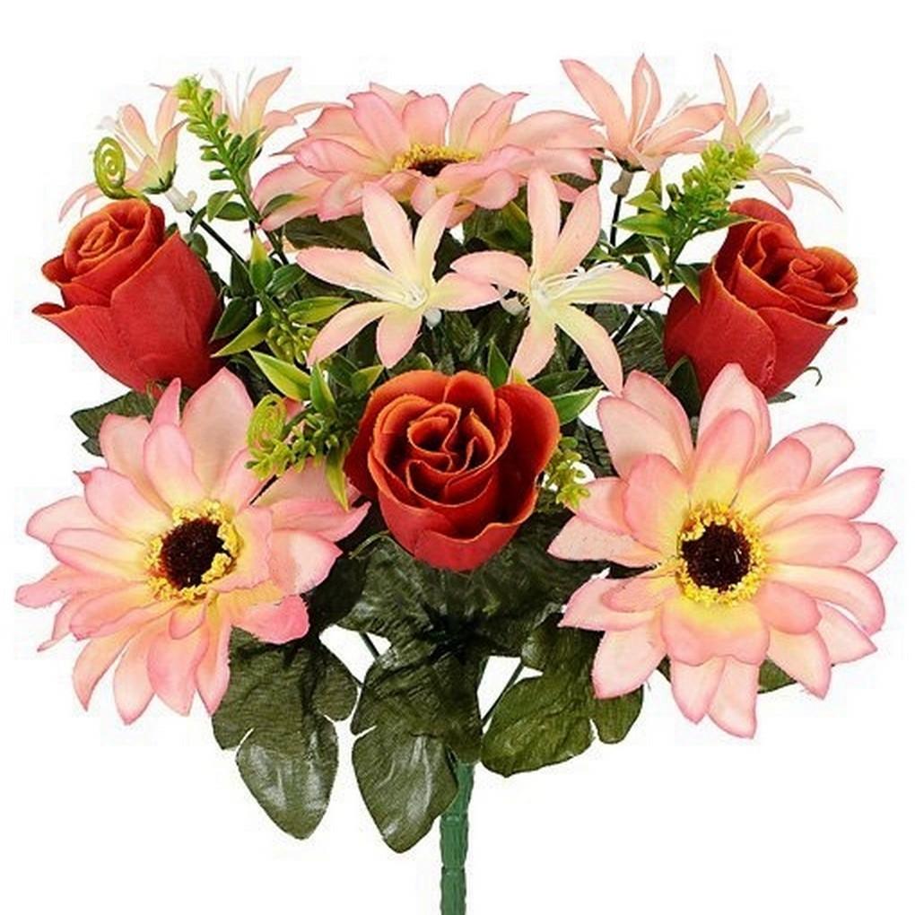 Букет гербер,лілій і троянд, 32 см (12 шт. в уп)