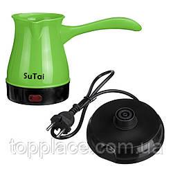Электрическая кофеварка, турка Sutai 168 500 мл, Зеленый
