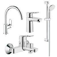 Набор смесителей для кухни, умывальника, ванны и душевая стойка GROHE BauLoop 123225K (23337000 + 32815000 + 31368000 + 27598000)
