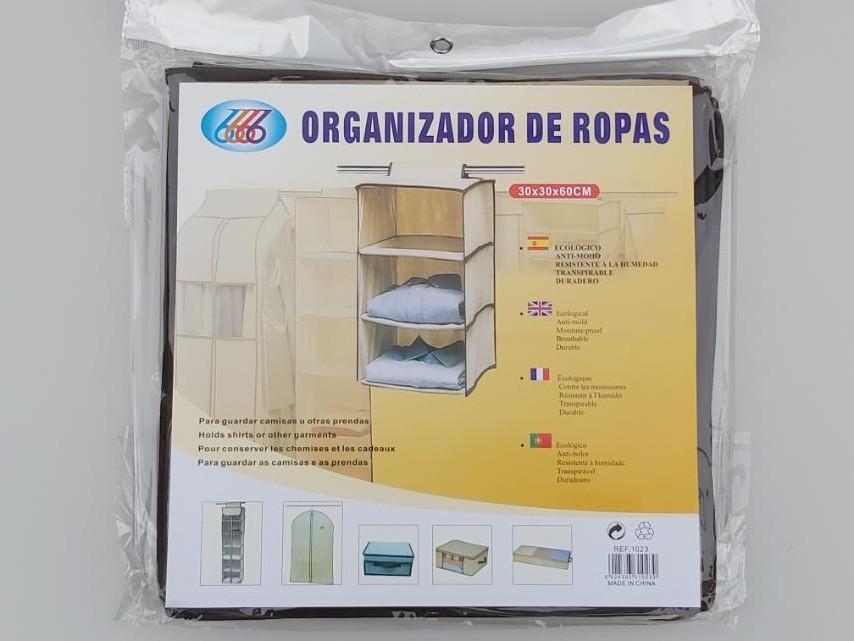 Розмір 30×30×60 см, на 3 секції. Підвісний органайзер для зберігання одягу.