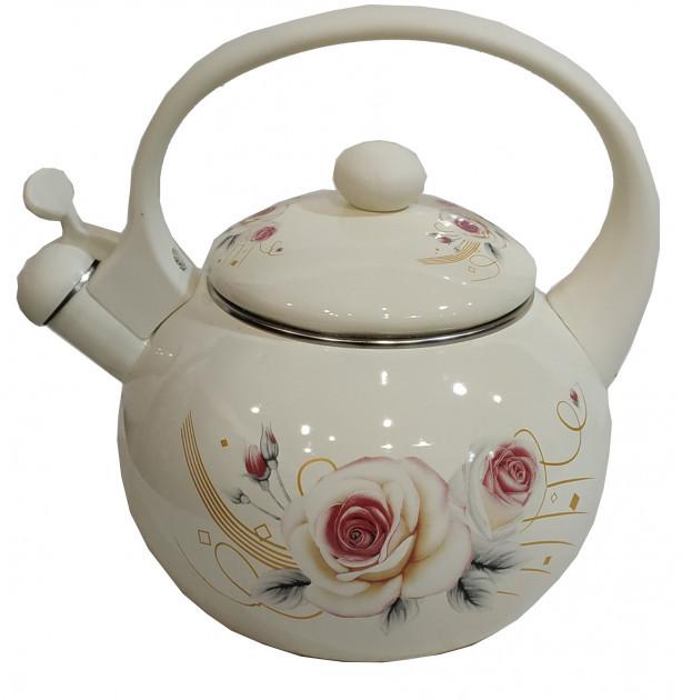 Эмалированный чайник со свистком Edenberg EB-1780 - 2,5л (белый)- Роза