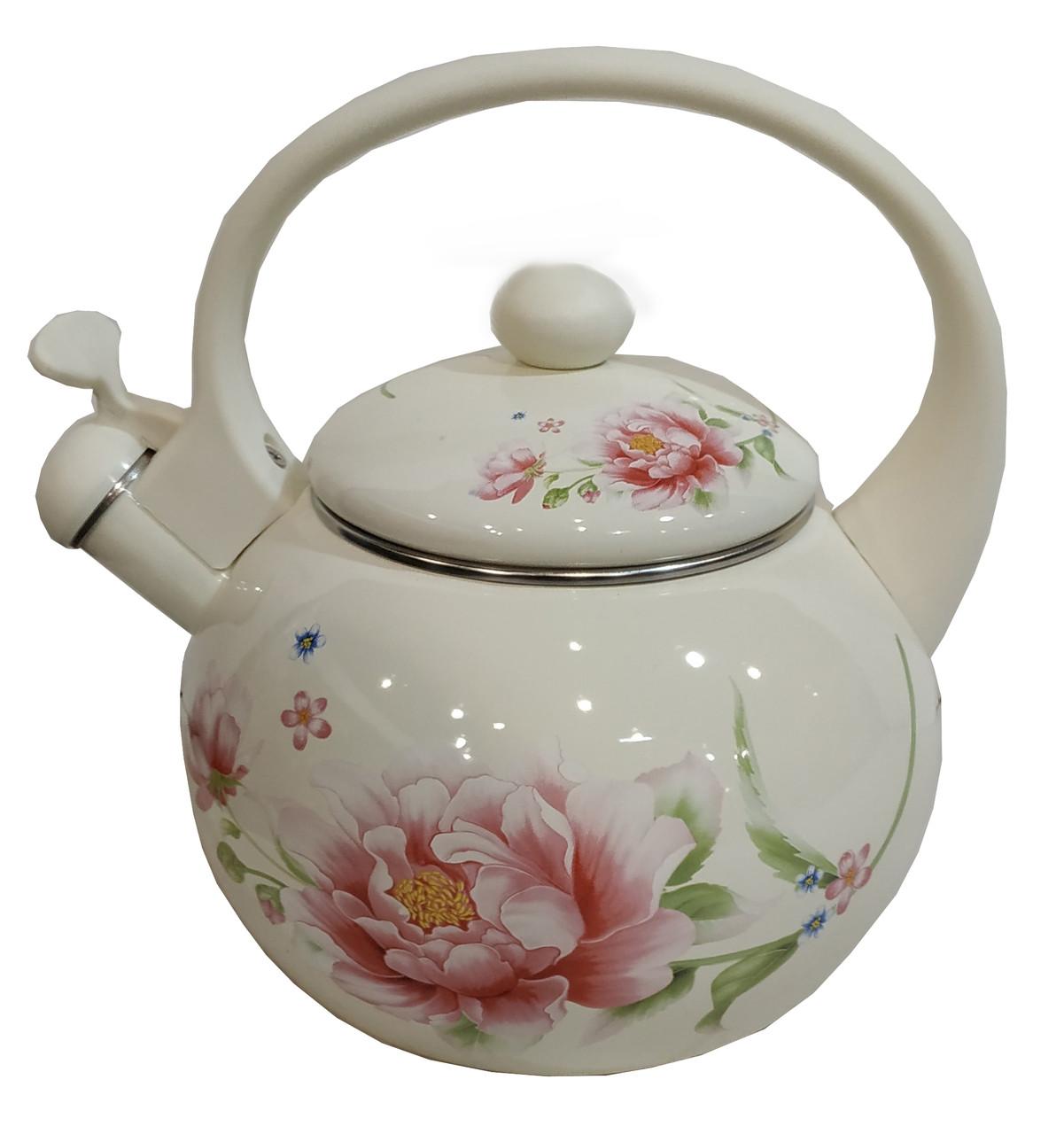Эмалированный чайник со свистком Edenberg EB-1780 - 2,5л( белый) Пион
