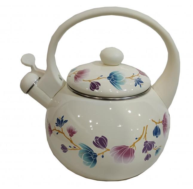 Эмалированный чайник со свистком Edenberg EB-1780 - 2,5л9 белый) Веточка