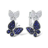 Серебряные серьги 925 пробы голубой белый кубический цирконий ювелирные украшения ручной работы
