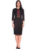 Черное женское платье с вышивкой (S-L), фото 1