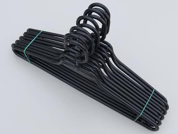 Плечики вешалки тремпеля V-L1 черного цвета, длина 41,5 см, в упаковке 10 штук, фото 2