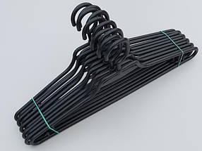 Плечики вешалки тремпеля V-L1 черного цвета, длина 41,5 см, в упаковке 10 штук, фото 3