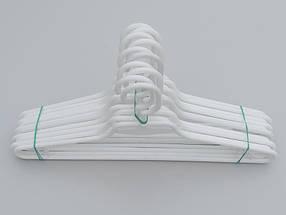 Плечики вешалки тремпеля V-L1 белого цвета, длина 41,5 см, в упаковке 10 штук, фото 2