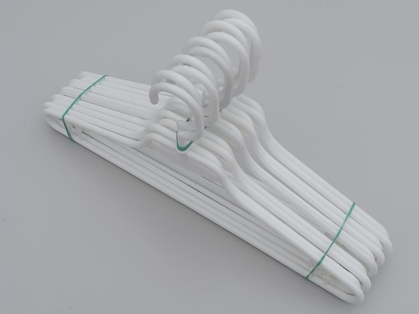 Плічка вішалки тремпеля V-L1 білого кольору, довжина 41,5 см, в упаковці 10 штук