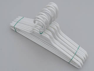 Плечики вешалки тремпеля V-L1 белого цвета, длина 41,5 см, в упаковке 10 штук