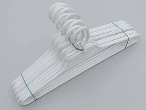 Плечики вешалки тремпеля V-L1 белого цвета, длина 41,5 см, в упаковке 10 штук, фото 3