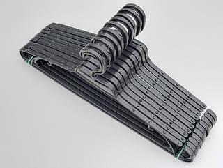 Плечики вешалки тремпеля V-L2 черного цвета, длина 43 см, в упаковке 10 штук
