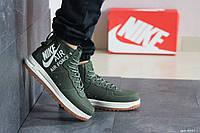 Мужские осенние высокие кроссовки Nike Air Force 1,зеленые