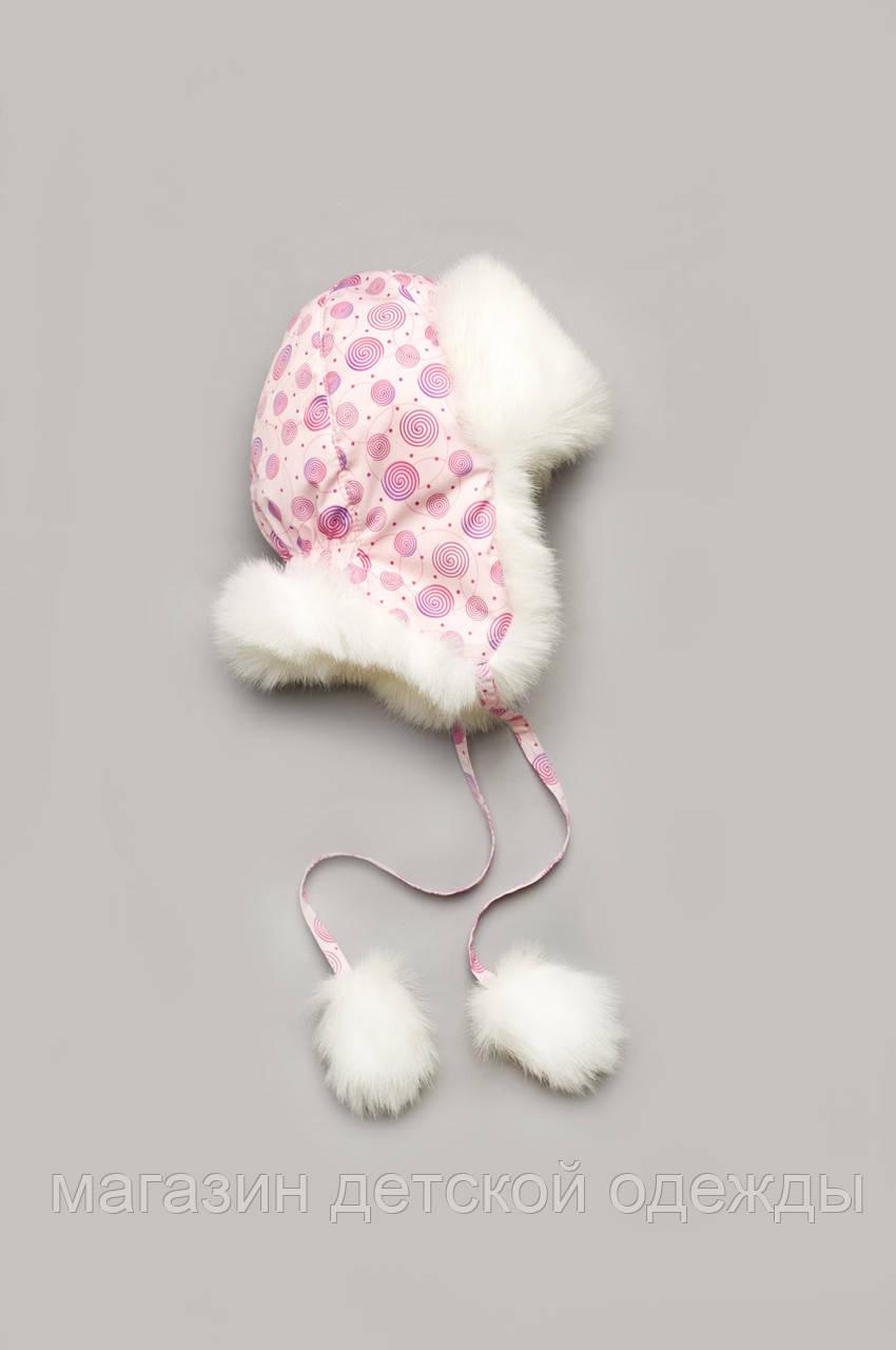 """Зимняя детская шапка """"Bubble pink"""" для девочки"""