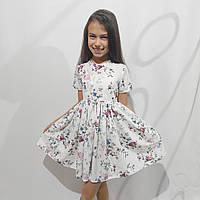 Детское платье летнее с цветочным принтом, супер софт (рост 116-140 см)