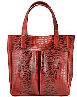 Женская кожаная сумка с карманами Crocodile красная