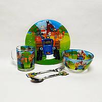 Детский набор стеклянной посуды для кормления Синий Трактор 5 предметов Metr+