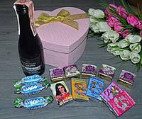Подарочный набор на 8 марта с конфетами и вином, фото 1